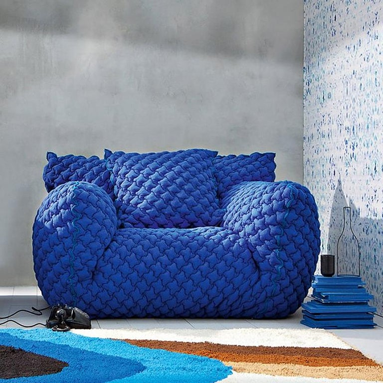Smooth Blue Armchair Lounge For Sale 1