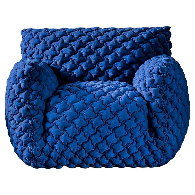 Smooth Blue Armchair Lounge For Sale