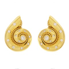 Smooth Snail Earrings with Diamonds and Twisted Wire
