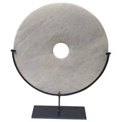 Smooth White/Grey Marble Disc Sculpture, China, Contemporary