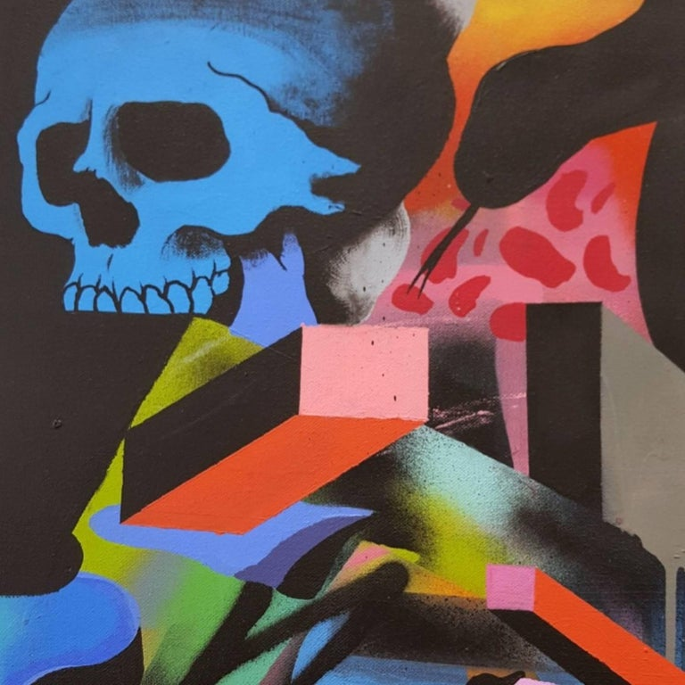 Summertime - Black Abstract Painting by Smurfo Udirty
