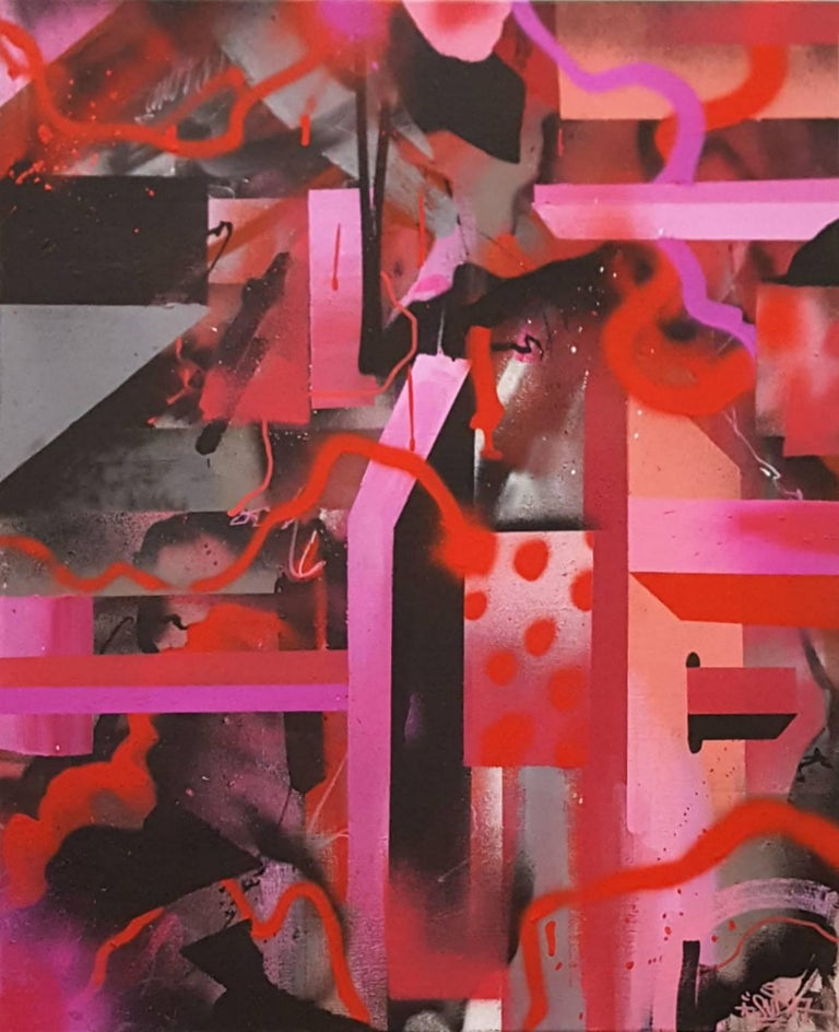 Valentine's Day Hue - original red abstract painting by street artist Smurfo