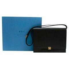 Smythson Black Leather Messenger Bag