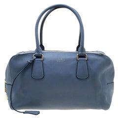 Smythson Light Blue Leather Satchel