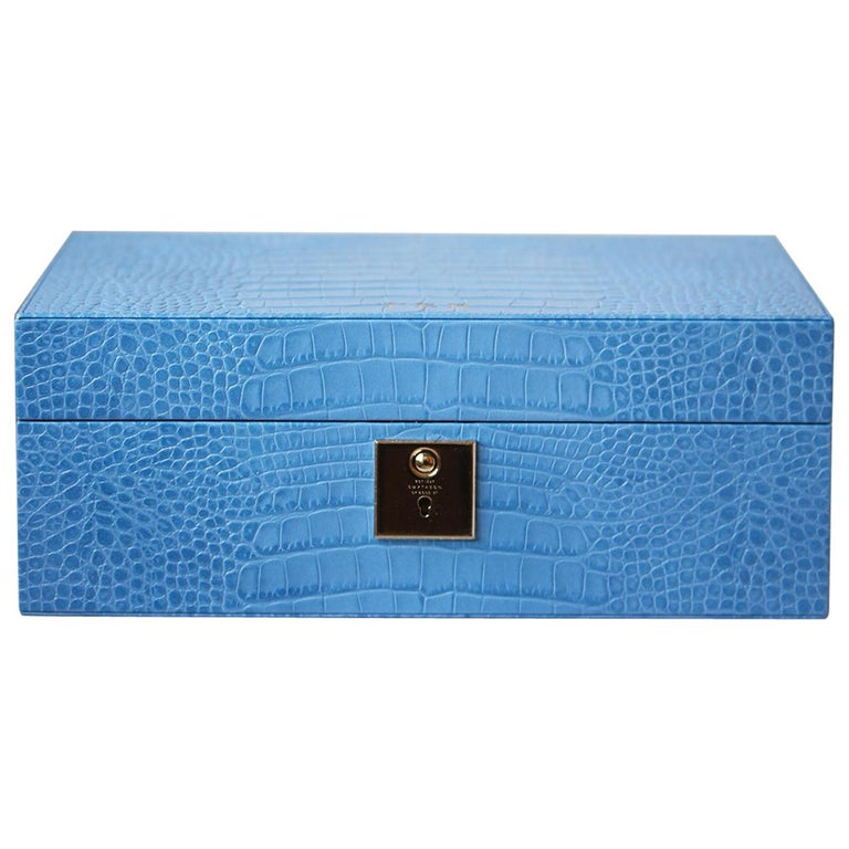 Smythson Mara Croc-Effect Glossed-Leather Jewellery Box For Sale