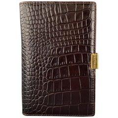 SMYTHSON OF BOND ST. Embossed Dark Brown Alligator Embossed Leather Notepad