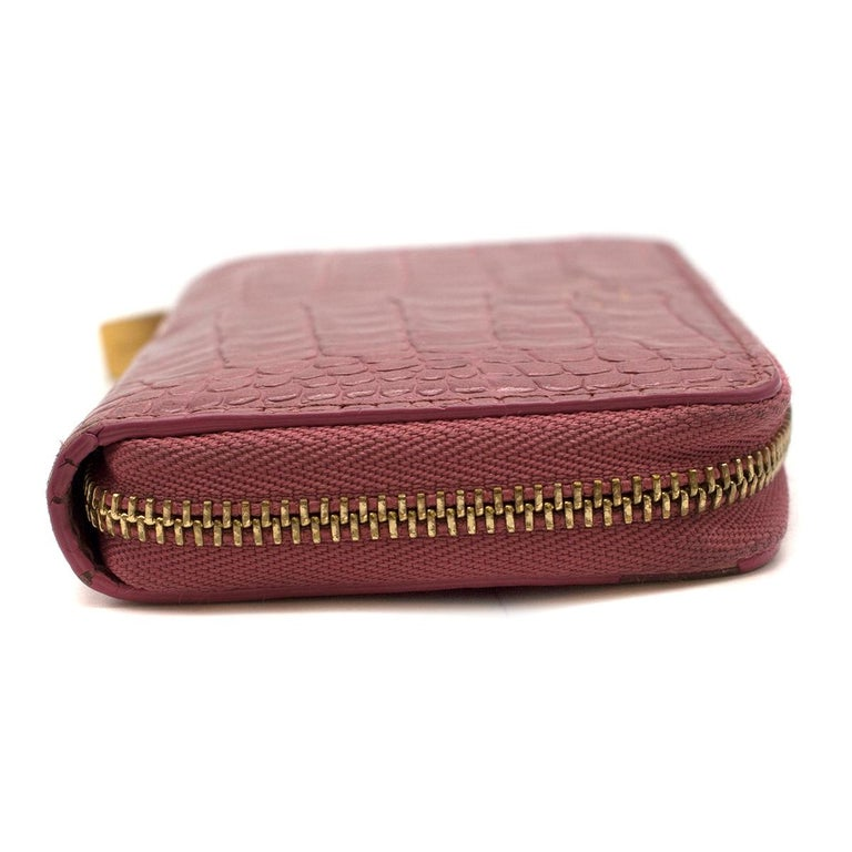 Smythson Pink Alligator Leather Wilde Zip Coin Purse - New Season In Good Condition For Sale In London, GB