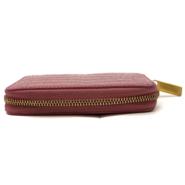 Women's Smythson Pink Alligator Leather Wilde Zip Coin Purse - New Season For Sale