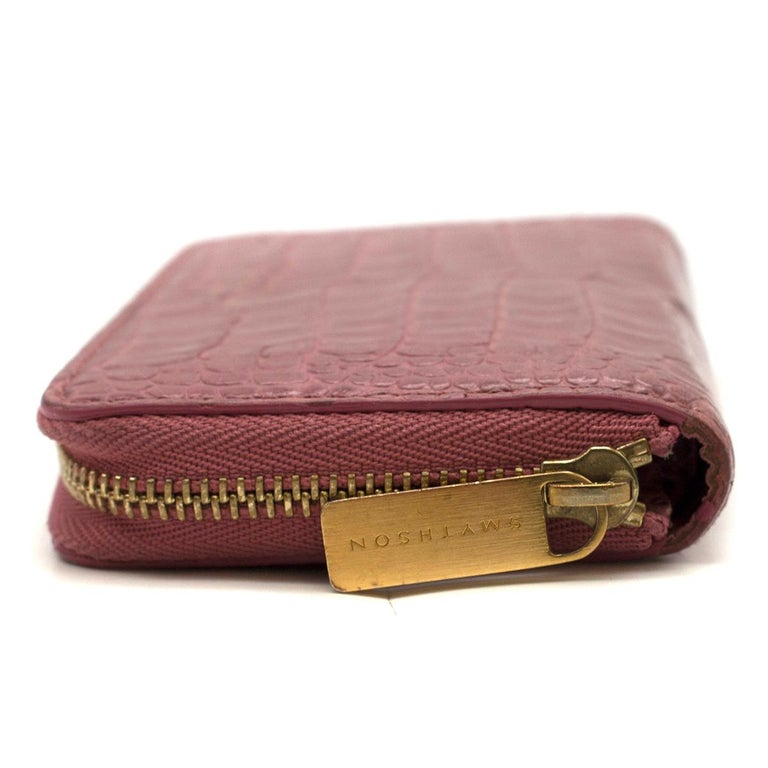 Smythson Pink Alligator Leather Wilde Zip Coin Purse - New Season For Sale 1