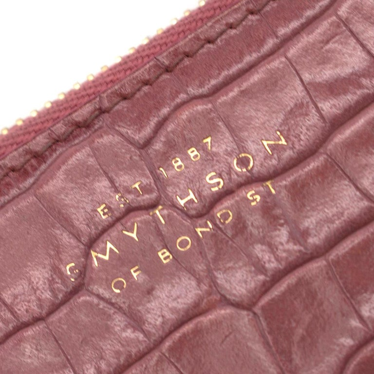 Smythson Pink Alligator Leather Wilde Zip Coin Purse - New Season For Sale 2