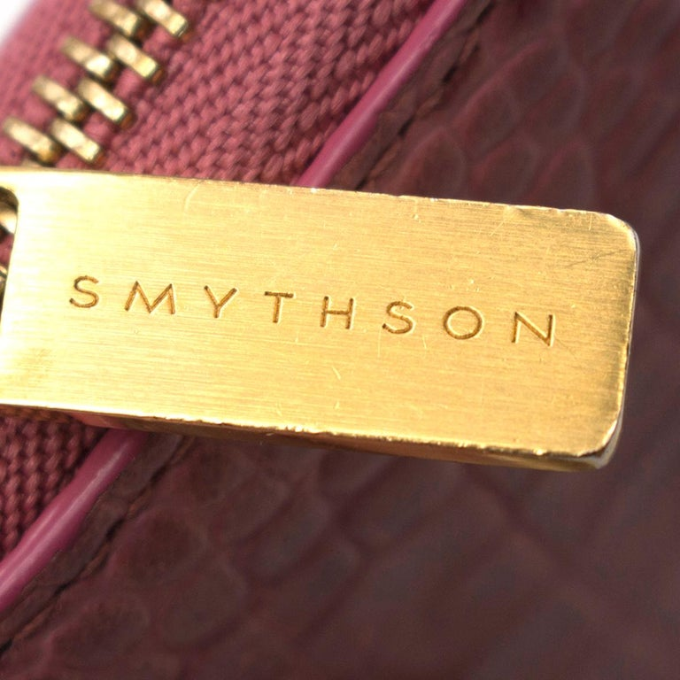 Smythson Pink Alligator Leather Wilde Zip Coin Purse - New Season For Sale 3
