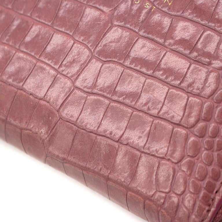 Smythson Pink Alligator Leather Wilde Zip Coin Purse - New Season For Sale 5