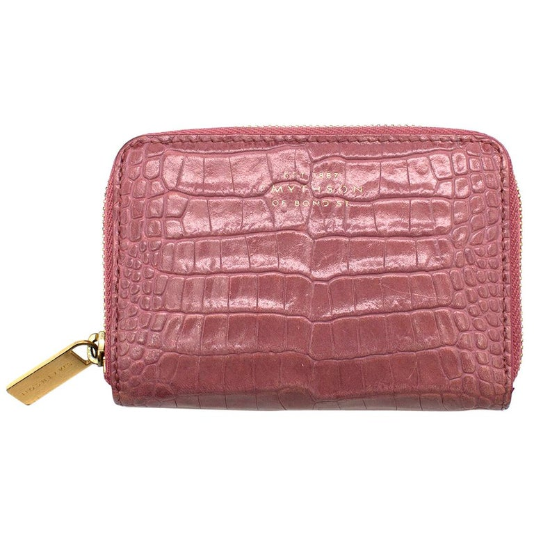 Smythson Pink Alligator Leather Wilde Zip Coin Purse - New Season For Sale