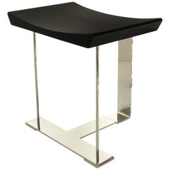 'SN3' Wood and Chrome Stool in the Manner of Pierre Chareau