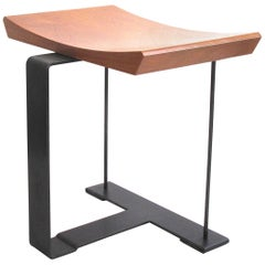 'SN3' Wood and Metal Stool in the Manner of Pierre Chareau
