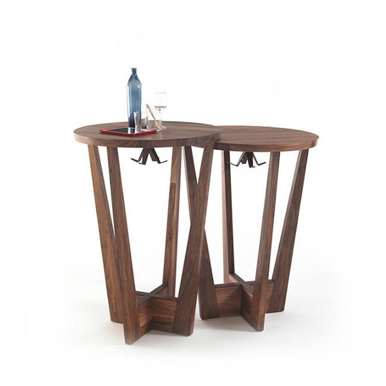 Contemporary Snack Full Wood Table Set of 3 For Sale