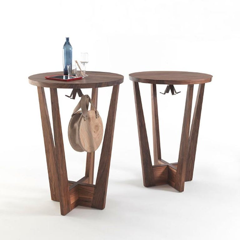 Walnut Snack Full Wood Table Set of 3 For Sale