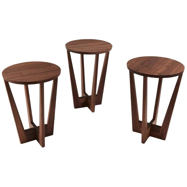 Snack Full Wood Table Set of 3 For Sale