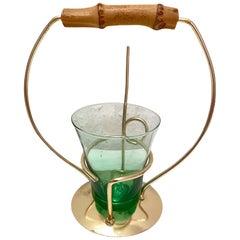 Snack Holder, Pretzel Salt Stick Holder with Vintage Colorful Glass German 1950s