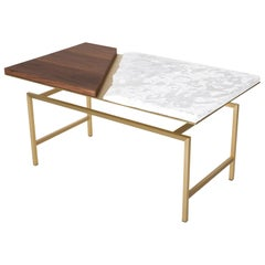 Snaer- Brass, Porcelain and Canaletto Walnut Coffee Table, Used for Exhibition
