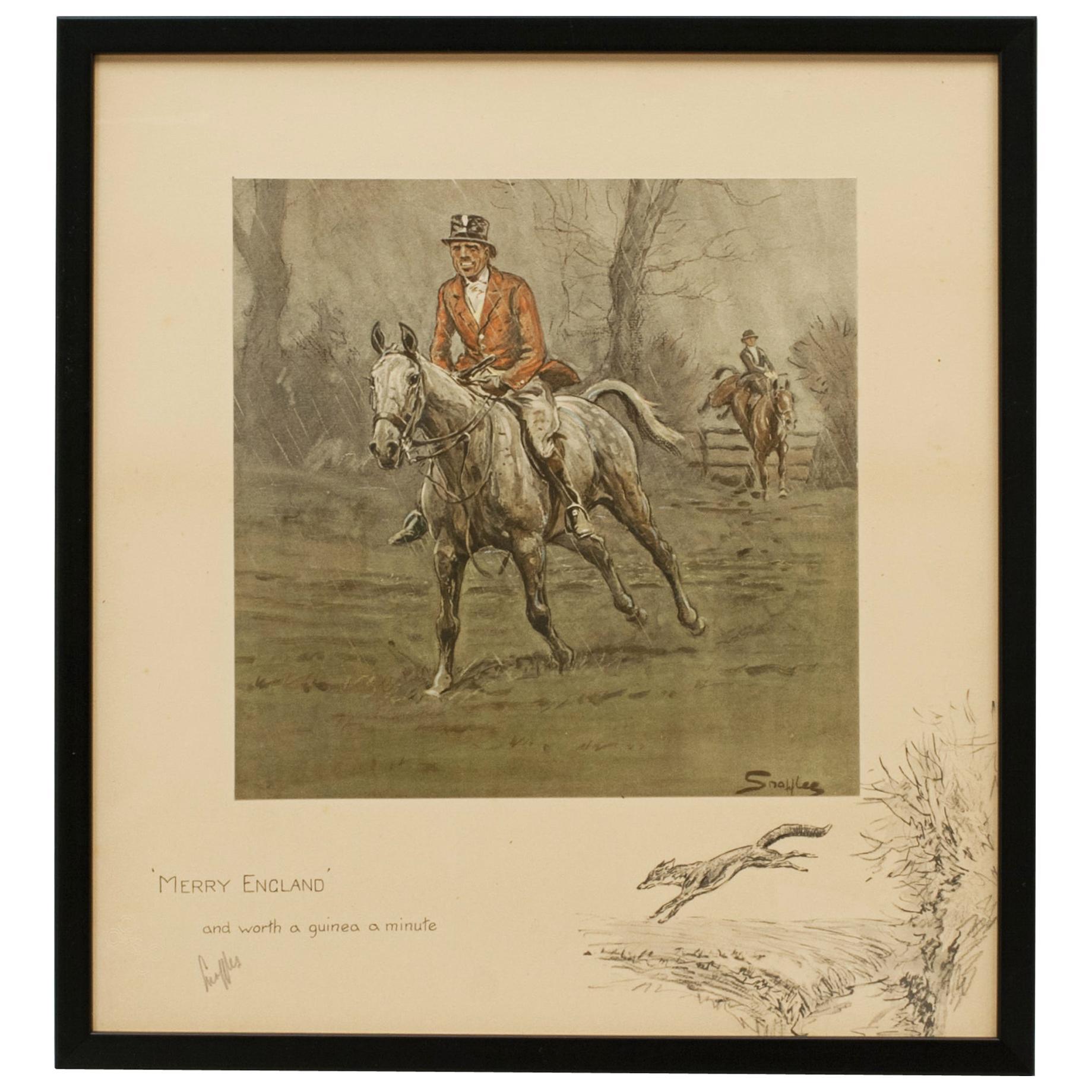 Snaffles Fox Hunting Print 'Merry England'
