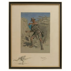 Snaffles Print, WWI Military Print, Anzac, 1916