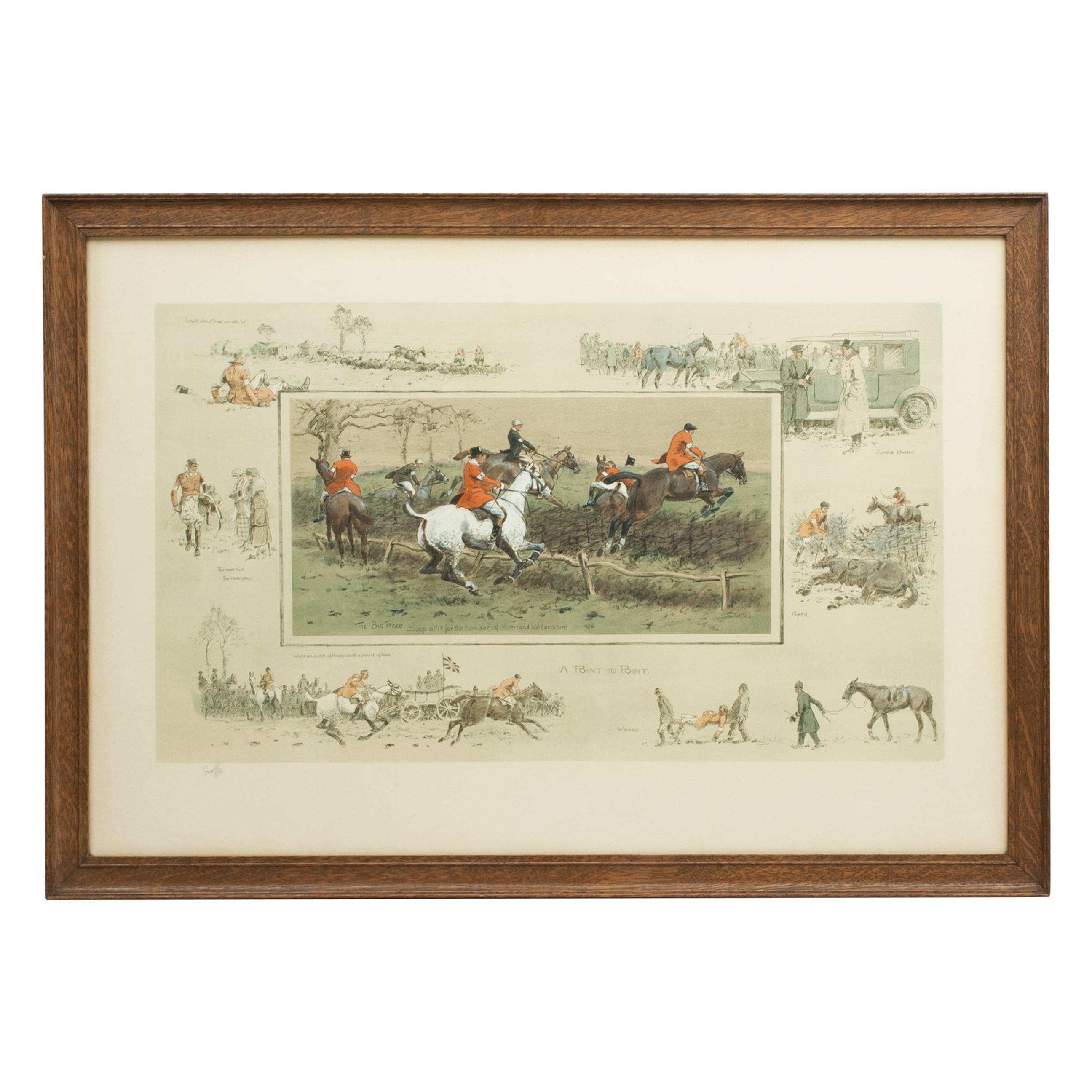 Snaffles Racing Print, A Point To Point, Signed in Pencil