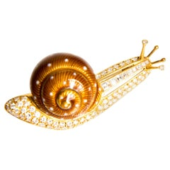 Snail Enamel, Diamond and Yellow Gold Brooch