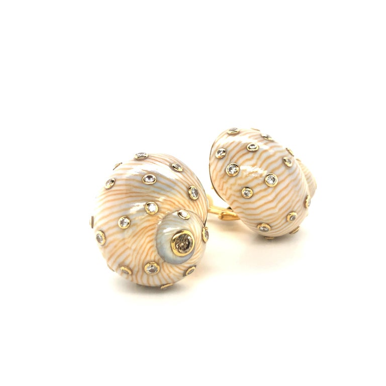 Summer is coming and here are the perfect earrings for the next beach party. Crème coloured snail shell with fine brown lines highlighted with brown and white diamonds bezel set in 18 karat yellow gold.  The 40 diamonds have a total weight of 1.16