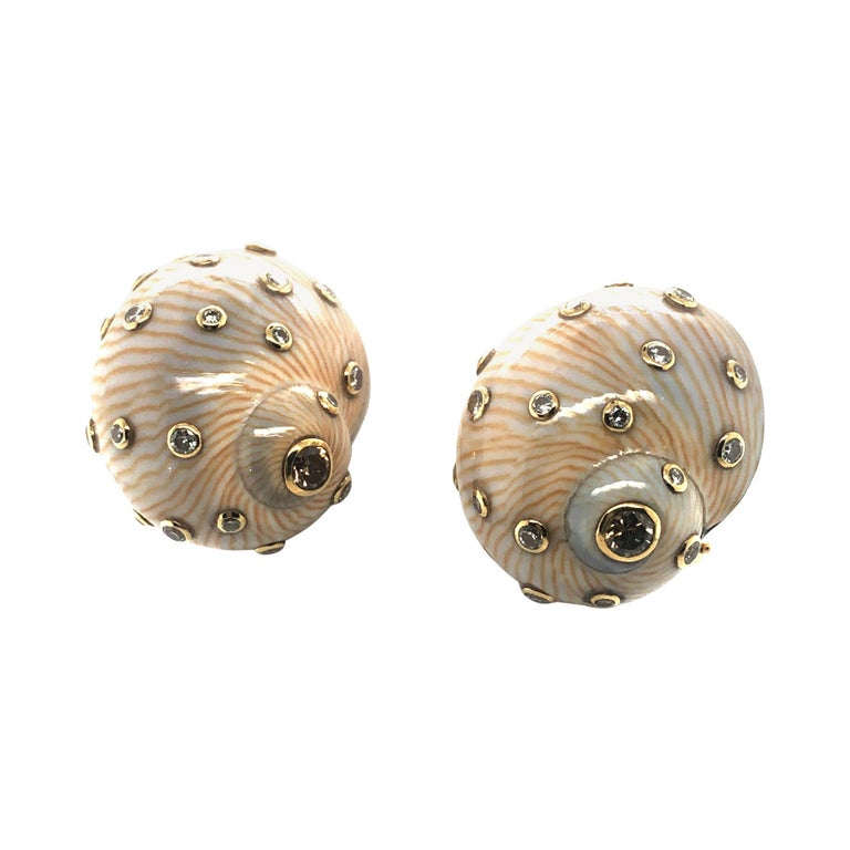 Snail Shell Earrings with Diamonds in Yellow Gold 18 Karat For Sale