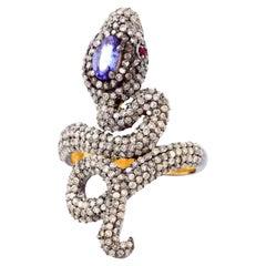 Snake 1.61 Carat Diamond Tanzanite Ring