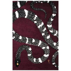Snake 8 Maroon Area Rug in Hand Tufted Wool & Botanical Silk by Rug'Society