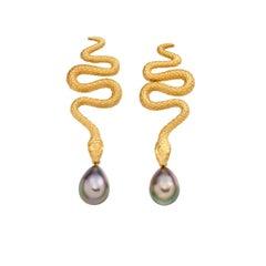 Snake and Black Pearl 18 Karat Cocktail Earrings