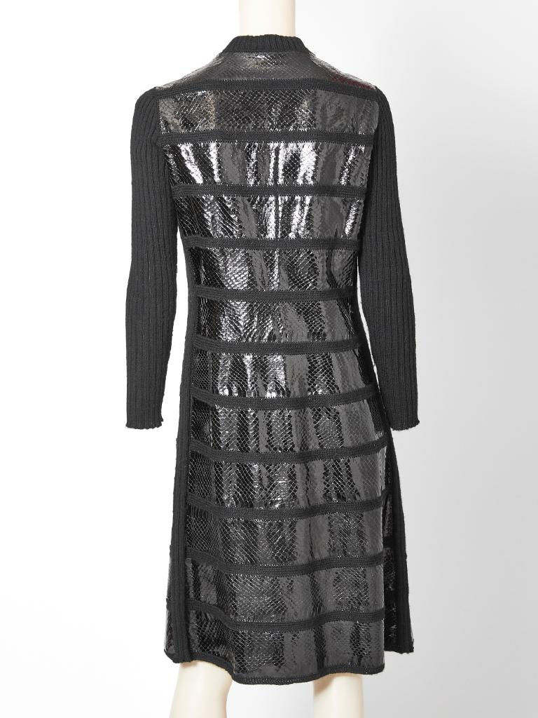 Snake and Wool Knit Coat Dress with Scallop Detail For Sale 2