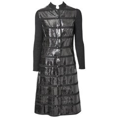 Snake and Wool Knit Coat Dress with Scallop Detail