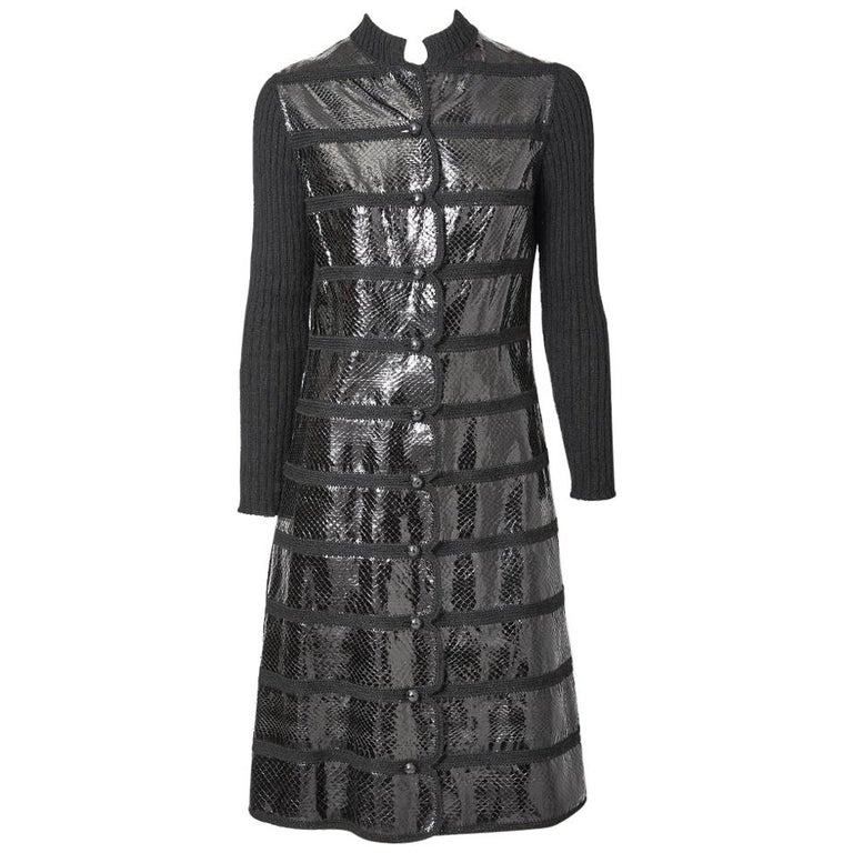 Snake and Wool Knit Coat Dress with Scallop Detail For Sale