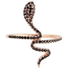 Snake Black Diamond 18 Karat Gold Ring