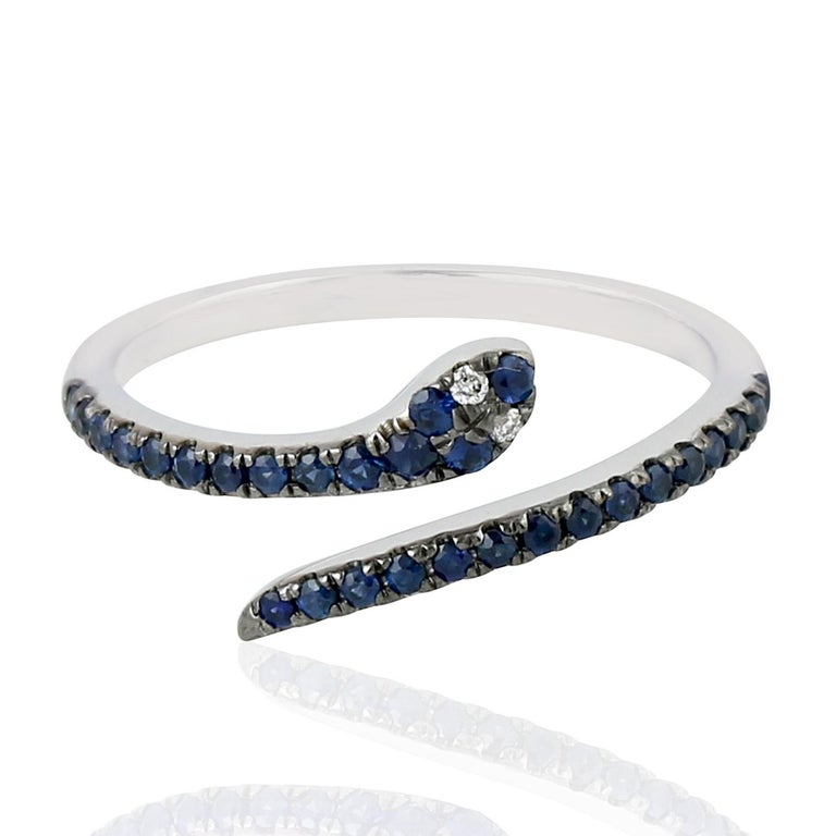 Single Cut Snake Blue Sapphire Diamond 18 Karat Gold Ring For Sale