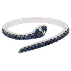 Snake Blue Sapphire Diamond 18 Karat Gold Ring