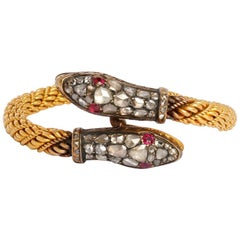 Snake Bracelet Rose Cut Diamond and Gold