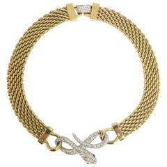 Snake Choker Necklace Gold and Rhinestone Vintage