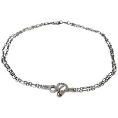 Snake Choker Necklace Ruby Sapphire in Silver