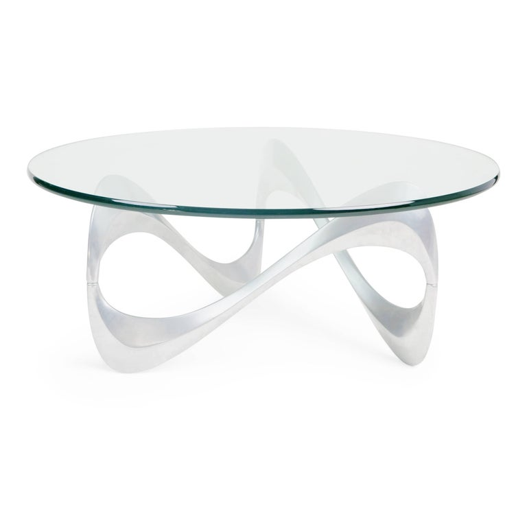 Sculptural 'Slangentisch' (Snake table) coffee table by Knut Hesterberg for Ronald Schmitt. This table would be a chic alternative to Knut's