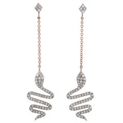 Snake Diamond 18 Karat Gold Drop Earrings