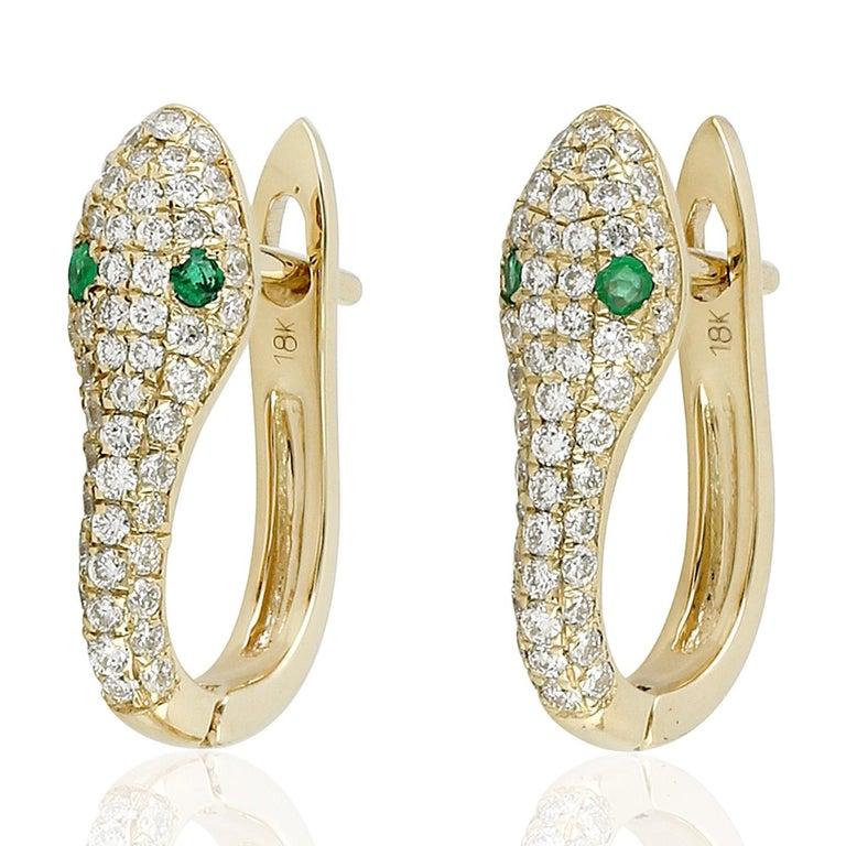 Emerald Cut Snake Diamond Emerald 18 Karat Gold Huggie Earrings For Sale