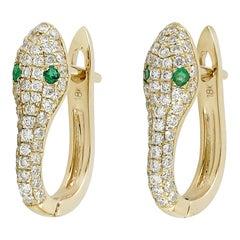 Snake Diamond Emerald 18 Karat Gold Huggie Earrings