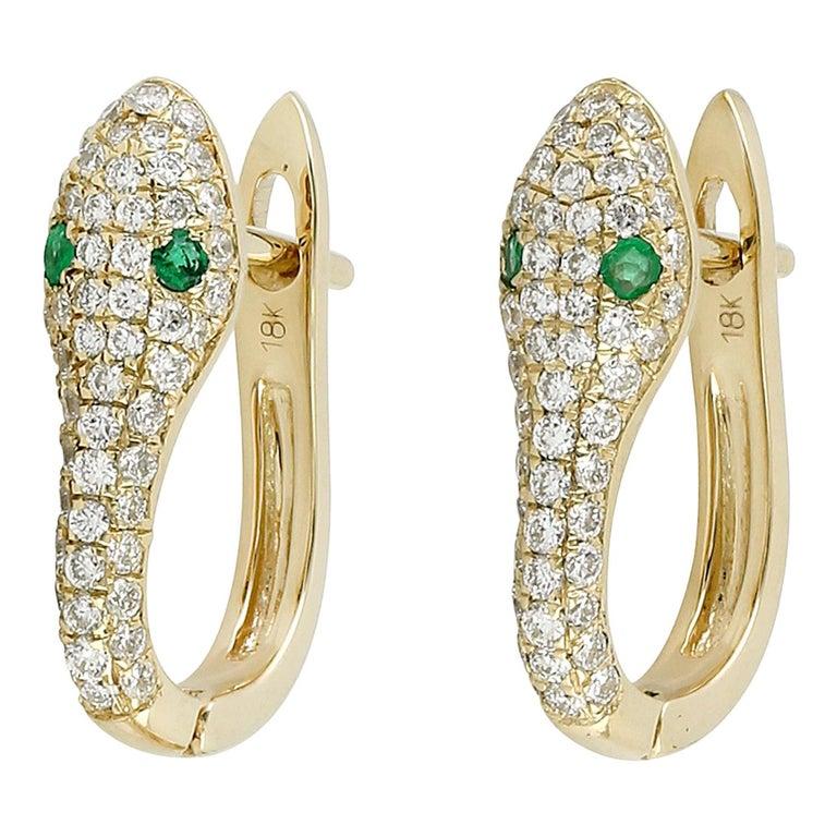 Snake Diamond Emerald 18 Karat Gold Huggie Earrings For Sale