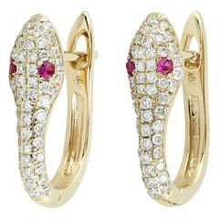 Snake Diamond Ruby 18 Karat Gold Huggie Earrings