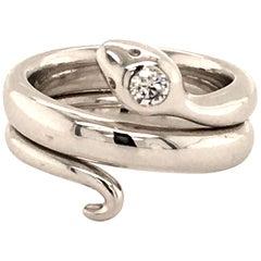 Snake Diamond White Gold 750 Ring