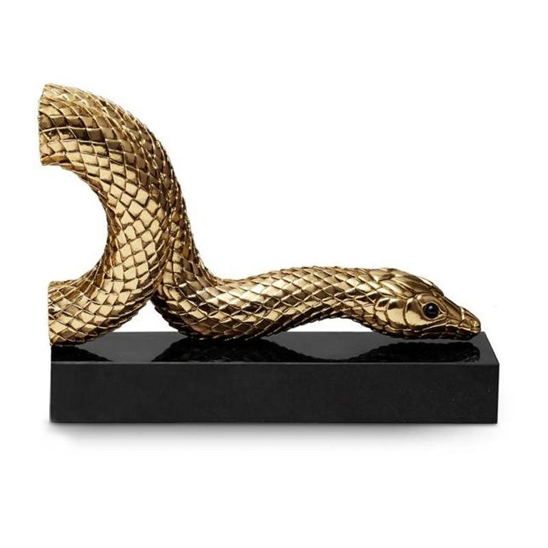 Portuguese Snake Gold Bookend Set in Gold or Platinum Plated For Sale